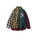 Stylish Patchwork Color Block Checkered Plaids Collared Long Sleeves Button-Down Front-Pocket Over-Sized Shirt