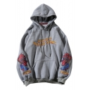 Letter Fish Embroidered Long Sleeve Loose Hoodie