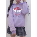 Cartoon Strawberry Print Long Sleeve Loose Hoodie