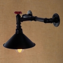 Industrial Pipe Wall Sconce with 8.66''W Cone Metal Shade in Black Finish