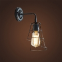 Industrial Mini Wall Sconce with Metal Cage, Black/White