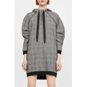 Simple Plaid Pattern Zip Placket Long Sleeve Shift Mini Dress