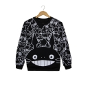 Lovely Cat Cartoon Pattern Long Sleeves Round Neck Monochrome Pullover Sweatshirt