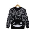 Lovely Cat Cartoon Pattern Long Sleeves Round Neck Monochrome Pullover Sweatshirt