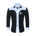 Fashion Color Block Print Long Sleeve Button Down Lapel Shirt