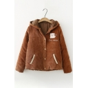 Winter Fashion Bear Printed Long Sleeves Hooded Button Down Quilted Coat with Pockets & Ears