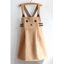 Cute Cartoon Cat Pattern Cross Strap Back Overall Dress