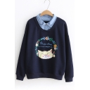 Trendy Cat Paws Letter Floral Printed Point Collar Long Sleeves Pullover Sweatshirt