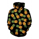 Simple Allover Pineapple Pattern Long Sleeves Pullover Hoodie with Pocket