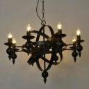 Industrial Vintage 8 Light Chandelier 30''W with Metal Cage Frame, Black