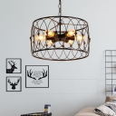 Industrial 15.75''W Chandelier with Cyliner Metal Cage in Vintage Style, 6 Light