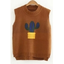 Cactus Pattern Round Neck Dip Hem Vest Pullover Sweater