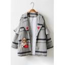 Chic Cartoon Bear Plaid Pattern Ruffle Long Sleeve Tunic Coat