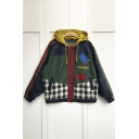 Childish Color Block Apple Mole Embroidered Checkered Plaids Zippered Hooded Over-Sized Coat