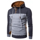 Stylish Color Block Long Sleeves Pullover Hoodie with Zipped-Pockets & Zipper