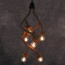 Industrial Vintage 6 Light Chandelier in Open Bulb Style