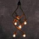 Industrial Vintage 6 Light Chandelier in Open Bulb Style