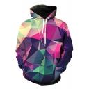 Digital Color Block Geometric Print Long Sleeve Pocket Hoodie
