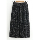 Hot Fashion Polka Dotted Elastic Waist Pleated Midi Skirt