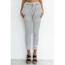Casual Striped Pattern Drawstring Waist Cropped Slim-Fit Pants