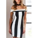 Stylish Color Block Cold Shoulder Zip-Back Short Sleeves Bodycon Mini Pencil Monochrome Dress