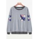 Fashion Floral Print Raglan Sleeve Round Neck Pullover Sweatshirt