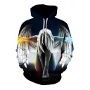 Fancy 3D Digital Angel Wings Woman Printed Long Sleeves Pullover Hoodie with Pocket