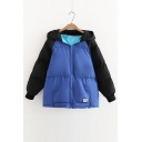 New Arrival Color Block Zippered Long Sleeve Hooded Padded Coat with Pockets