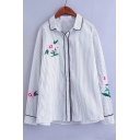 Trendy Lapel Striped Floral Embroidery Button Down Long Sleeves Shirt