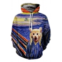 Fashionable Screaming Cat Oil-Painting Printed Long Sleeves Pullover Hoodie with Pocket