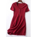 Stylish V Neck Short Sleeve Button A-line Mini Knit Dress