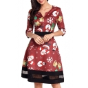 Chic Christmas Elements Print Patchwork Hem Half Sleeve A-line Mini Dress
