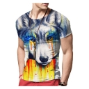 Fashionable 3D Color Block Wolf Print Short Sleeve Round Neck Tee