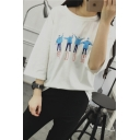 Funny Cartoon Persons Pattern Round Neck 3/4 Length Sleeve Fashion Tee