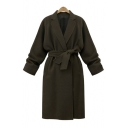 Simple Plain Belt Waist Long Sleeve Notch Lapel Slim-Fit Tunic Coat