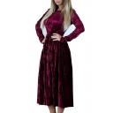 Elegant Round Neck Long Sleeve Tie Waist Pleated Midi Dress