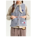 Stylish Button Down Sleeveless Embroidered Winter Fur Two-Way Vest with Pockets