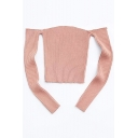 Sexy Cold Shoulders Long Sleeves Plain Slim-Fit Pullover Cropped Sweater