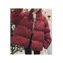 Fashion Vertical Striped Stand-Up Collar Long Sleeve Padded Coat