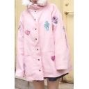 Cartoon Patchwork Hooded Long Sleeve Buttons Down Coat