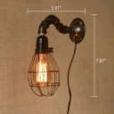 Industrial Mini Pipe Wall Sconce with Metal Cage Shade