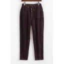 Vintage Simple Plain Elastic Waist Pants