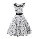 Cartoon Print Ruffle Hem Round Neck Sleeveless Fit & Flare Midi Dress