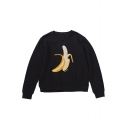 Leisure Banana Pattern Embroidery Long Sleeves Round Neck Pullover Sweatshirt