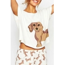 Lovely Dachshund Puppy Dog Printed Round Neck Short Sleeves Cropped Tee