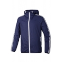 Fashion Striped Side Long Sleeve Zipper Hooded Sport Windproof Coat