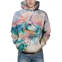 New Stylish Unicorn Print Long Sleeve Pocket Hoodie for Couple