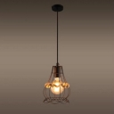 Industrial Pendant Light in Rope Style with Metal Cage, Black