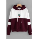 Stylish Color Block Cactus Pattern Long Sleeves Pullover Hoodie with Drawstring