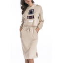 New Trendy Pattern Long Sleeve Hooded Sweater Knitted Skirt Co-ords